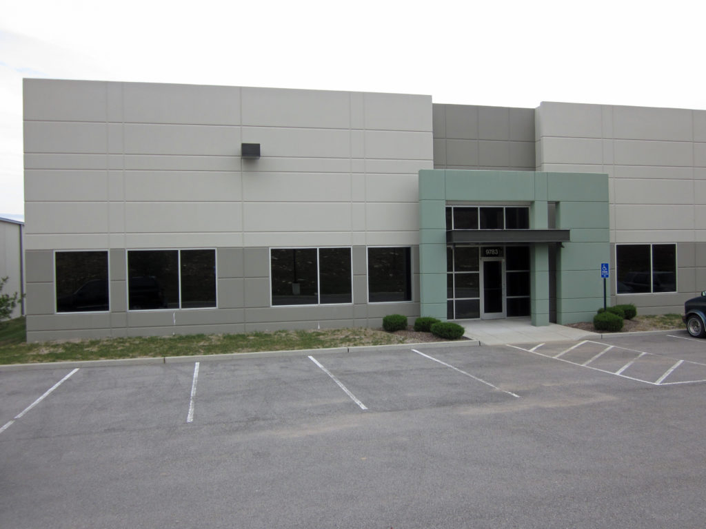 Entrance to industrial building located at 9783 Green Park Industrial Drive