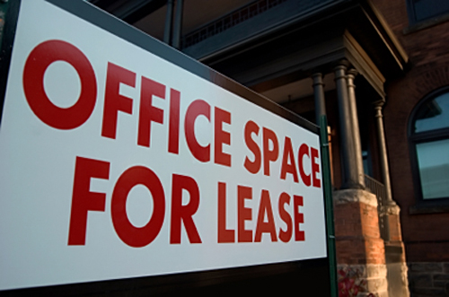 Office space for lease sign