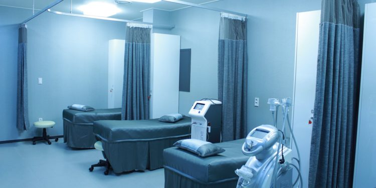 Blue tinted hospital beds