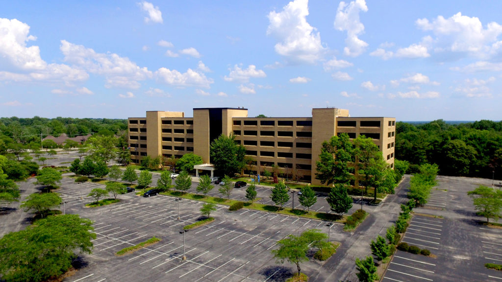 Drone photo of 11330 Olive Blvd office building