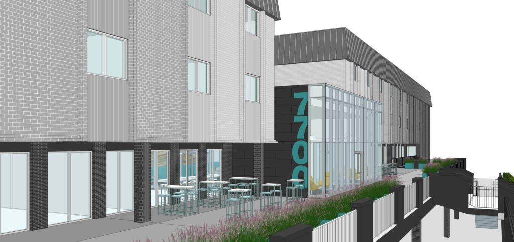 Rendering of new facade at 7700 Clayton Road