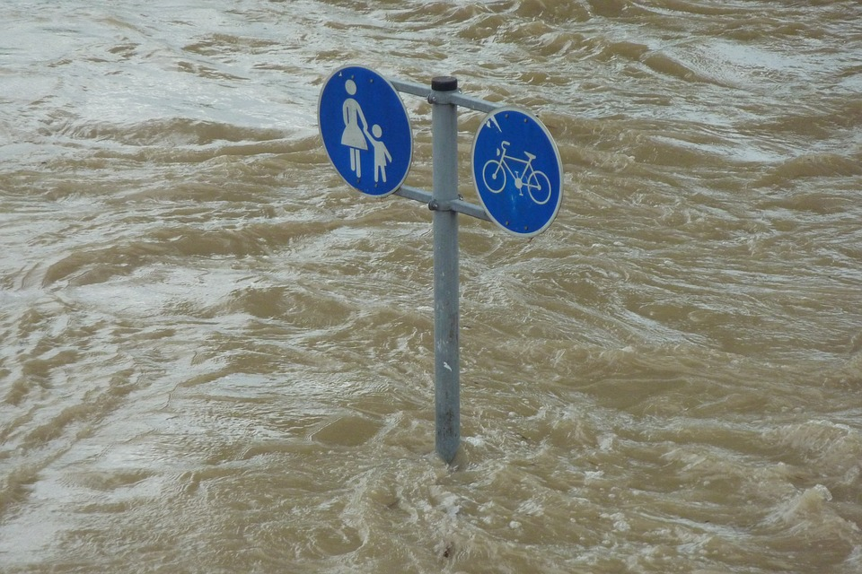 Flooded street signs