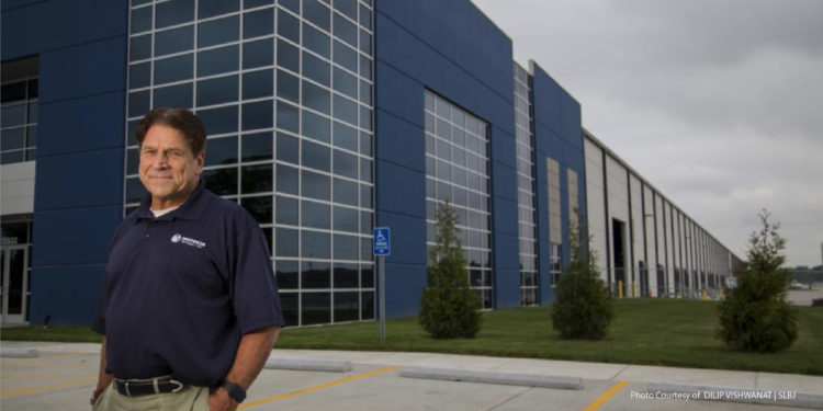 Don Davidson standing in front of Davidson Surface Air's new HQ's