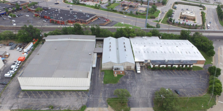 Aerial view of 200 Hanley Industrail warehouse building